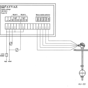 Схема контрольной панели уровнемера c двойным реле