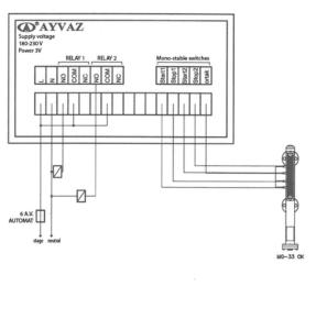 Схема контрольной панели уровнемера c двойным реле MG-33