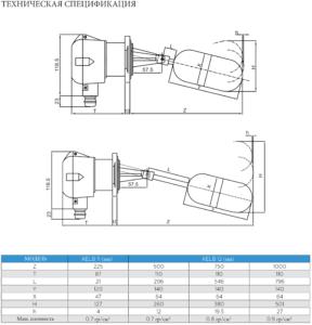 Реле уровня AELB-11/AELB-12 тех спецификация